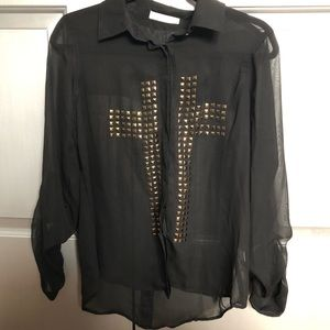 Sheer studded button down blouse